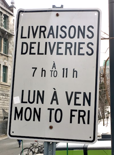 A typical road sign in Montréal